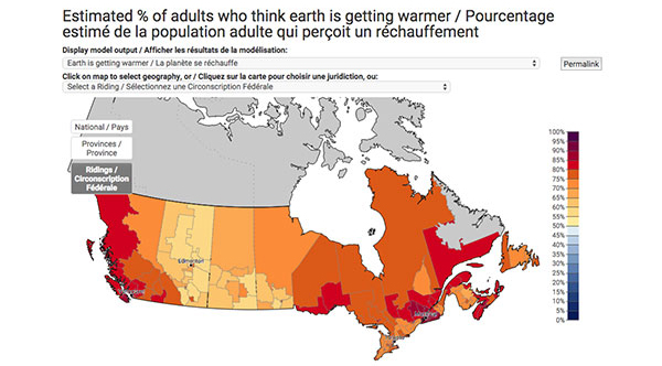 Small Map Of Canada.Yale Climate Opinion Maps Canada Yale Program On Climate Change