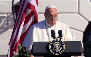 """Pope Francis speaking during his visit to the White House, where he said that climate change """"can no longer be left to a future generation."""" Source: APTN"""