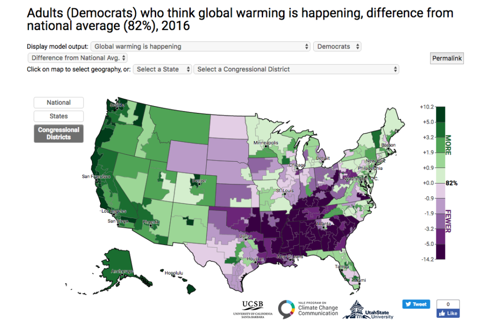 Maps 2016.Democratic Republican Climate Opinion Maps 2016 Yale Program On